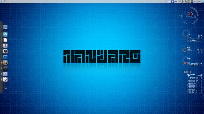 Manjaro + Xfce 4.10 + Avant Window Navigator + Conky Lua