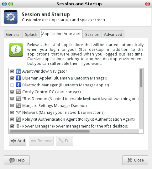 Xfce Session and Startup